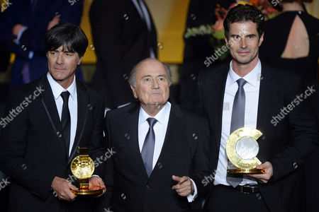 Fifa President Joseph Blatter (c) Poses For Photographers with Fifa World Coaches of the Year 2014 Joachim Loew (l) and Ralf Kellermann (r) Both of Germany During the Fifa Ballon D'or 2014 Gala Held at the Kongresshaus in Zurich Switzerland 12 January 2015 Switzerland Schweiz Suisse Zurich