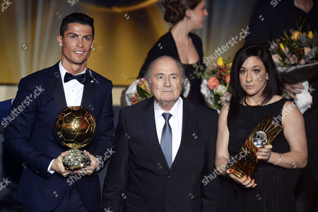 Fifa President Joseph Blatter (c) Poses For Photographers with Fifa World Players of the Year 2014 Cristiano Ronaldo (l) of Portugal and Nadine Kessler (r) of Germany During the Fifa Ballon D'or 2014 Gala Held at the Kongresshaus in Zurich Switzerland 12 January 2015 Switzerland Schweiz Suisse Zurich