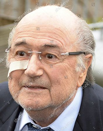 A Haggard-looking Joseph S 'Sepp' Blatter Unshaven Bleary-eyed and Sporting a Plaster on His Cheek Leaves the Fifa's Headquarters Hotel Sonnenberg in Zurich Switzerland December 21 2015 Blatter and Uefa President Michel Platini Were Banned From Football For Eight Years by the Ethics Committee of Football's World Governing Body on 21 December 2015 Switzerland Schweiz Suisse Zurich