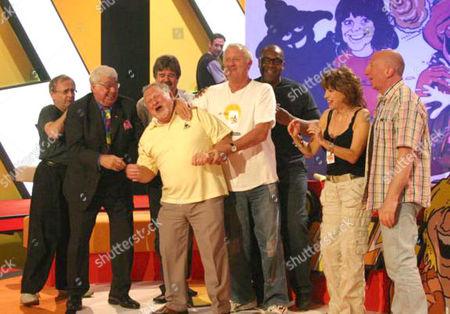 'Tiswas Reunited' - Sylvester McCoy, Frank Carson, Chris Tarrant, Lenny Henry, Sally James and John Gorman