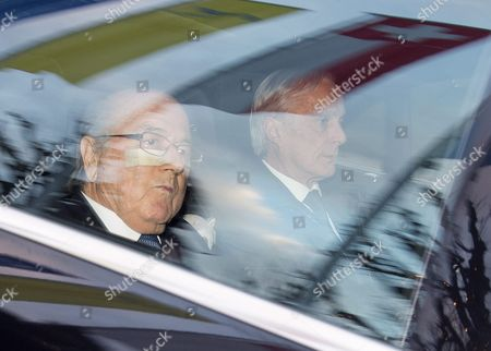 Fifa President Joseph S Blatter (l) and His Lawyer Lorenz Erni (r) Arrive in a Car at the Fifa Headquarters 'Home of Fifa' in Zurich Switzerland 17 December 2015 While Fifa President Joseph S Blatter Will Appear in Person Before the Panel of Four Judges of the Fifa Ethics Court Uefa President Michel Platini Plans to Boycott His Hearing Scheduled For 18 December Blatter and Platini Were Banned For 90 Days on 08 October Switzerland Schweiz Suisse Zurich