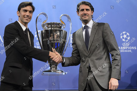 Club Atletico De Madrid Club Ambassador Jose Luis Perez Caminero Right Shakes Hands with Chelsea Fc Club Ambassador Paulo Ferreira Left After the Draw of the Semi-finals of Uefa Champions League 2013/14 at the Uefa Headquarters in Nyon Switzerland Friday April 11 2014 Switzerland Schweiz Suisse Nyon