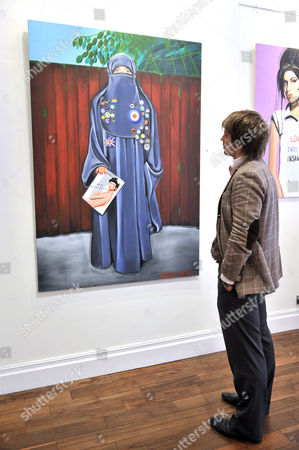 Oil painting 'Blue, Badges, Burka' by artist Sarah Maple