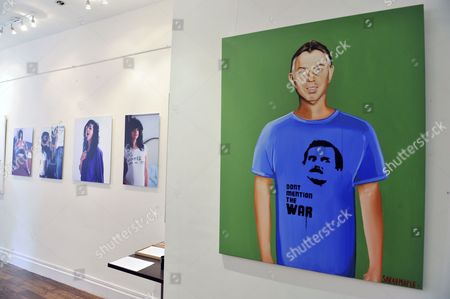 Oil painting 'Don't Mention The War' by artist Sarah Maples (estimate £25,000), featuring former British Prime Minister Tony Blair wearing a t-shirt of Fawlty Towers character Basil Fawlty