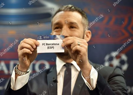 Gianluca Zambrotta Ambassador of the 2016 Champions League Final in Milan Shows the Ticket of Fc Barcelona During the Draw of the Uefa Champions League 2015-16 Quarter Final Matches at the Uefa Headquarters in Nyon Switzerland 18 March 2016 Switzerland Schweiz Suisse Nyon