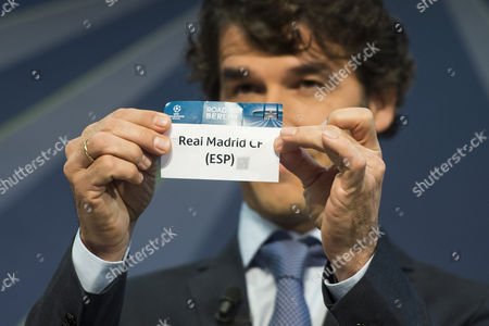 Former German Soccer Player Karl-heinz Riedle Ambassador For the Uefa Champions League Final in Berlin Draws Spain's Soccer Team Real Madrid C F During the Draw of the Round of 16 of the Uefa Champions League 2014/15 at the Uefa Headquarters in Nyon Switzerland 15 December 2014 Switzerland Schweiz Suisse Nyon