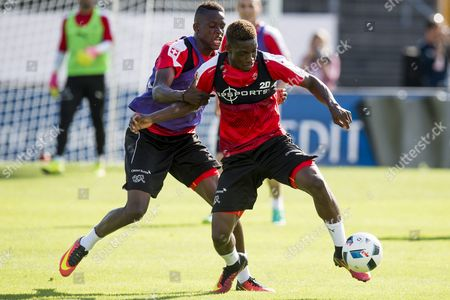 Swiss Soccer Players Denis Zakaria (l) and Jacques Francois Moubandje in Action During the Team's Training Session in Lugano Switzerland 02 June 2016 the Swiss National Football Team is in Lugano For a Training Camp in Preparation For the Uefa Euro 2016 Soccer Championship Hosted by France Switzerland Schweiz Suisse Lugano