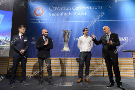 (l-r) Fiorentina Former Soccer Player Martin Jorgensen Sevilla General Sports Manager Ramon Rodriguez Verdejo Dnipro Dnipropetrovsk Former Player Andriy Rusol and Uefa General Secretary Gianni Infantino During the Draw of the Semi-finals of Uefa Europa League 2014/15 at the Uefa Headquarters in Nyon Switzerland 24 April 2015 Switzerland Schweiz Suisse Nyon