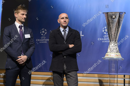 Stock Photo of Fiorentina's Former Soccer Player Martin Jorgensen (l) and Sevilla's General Sports Manager Ramon Rodriguez Verdejo During the Draw of the Semi-finals of Uefa Europa League 2014/15 at the Uefa Headquarters in Nyon Switzerland 24 April 2015 Switzerland Schweiz Suisse Nyon