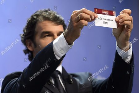Stock Picture of Former German Soccer Player Karl-heinz Riedle Ambassador For the Uefa Champions League Final in Berlin Shows the Lot of Acf Fiorentina During the Draw of the Semi-finals of Uefa Europa League 2014/15 at the Uefa Headquarters in Nyon Switzerland 24 April 2015 Epa/laurent Gillieron Switzerland Schweiz Suisse Nyon