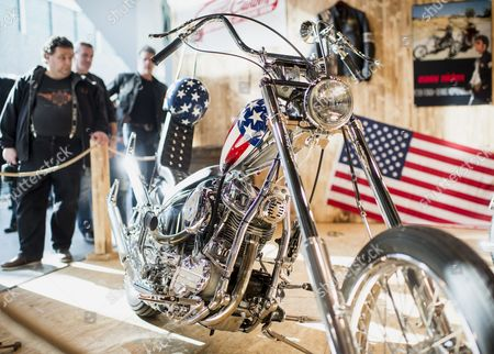 A Replica of the Legenday 'Captain America' Harley Davidson Chopper Which was Featured in the Famous 1969 Us Road Movie 'Easy Rider' by Actor/director Dennis Hopper is Admired by Visitors of the Swiss Motorcycle Trade Fair in Zurich Switzerland 19 February 2015 the Trade Fair Runs From 19 to 22 February 2015 Switzerland Schweiz Suisse Zurich