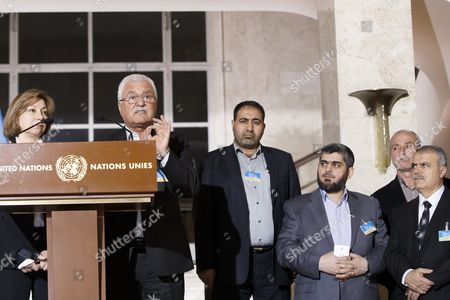 Syrian Opposition Deputy Head George Sabra (2-l) Next to Members of High Negotiations Committee Hcn Bassma Kodmani (l) Alaboud Mohammad (3-l) Mohammed Alloush (2-r) Chief Negotiator For the Main Syrian Opposition Body and Rebel Group Army of Islam and Asaad Al-zoubi (r) Head of the Syrian Opposition Delegation Speaks to the Media After a New Round of Negotiations Between the Syrian Opposition and the Un Special Envoy of the Secretary-general For Syria Staffan De Mistura (no Pictured) at the European Headquarters of the United Nations in Geneva Switzerland 15 March 2016 the Civil War in Syria Has Claimed the Lives of More Than 273 000 People in Five Years Reported the Syrian Observatory For Human Rights Switzerland Schweiz Suisse Geneva
