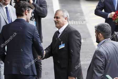 Asaad Al-zoubi (l) Head of the Syrian Opposition Delegation and Mohammed Alloush (r) Chief Negotiator For the Main Syrian Opposition Body and Rebel Group Army of Islam Arrive For a New Round of Negotiation Between the Syrian Opposition and Un Special Envoy of the Secretary-general For Syria Staffan De Mistura (no Pictured) at the European Headquarters of the United Nations in Geneva Switzerland 15 March 15 2016 Switzerland Schweiz Suisse Geneva Geneve Genf