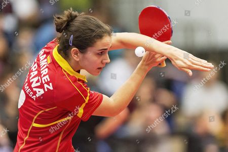Sara Ramirez of Spain in Action During the Women's Quarter Finals of the Dhs Swiss Table Tennis Open in Lausanne Switzerland 14 February 2016 Switzerland Schweiz Suisse Lausanne