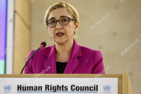Georgian Minister For Foreign Affairs Tamar Beruchashvili Addresses Her Statement During a Press Conference on the Sideline of the 28th Session of the Human Rights Council at the European Headquarters of the United Nations in Geneva Switzerland 02 March 2015 the Human Rights Council Opens Today a Four-week Session with Member States and Top Officials Switzerland Schweiz Suisse Geneva