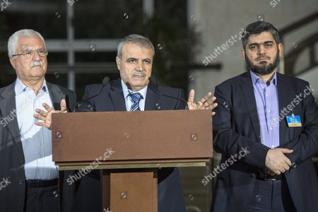 Stock Picture of George Sabra (l) Syrian Opposition Deputy Head of High Negotiations Committee (hnc) with Asaad Al-zoubi (c) Head of the Syrian Opposition Delegation of High Negotiations Committee (hnc) and Mohamed Alloush (r) of the Jaysh Al Islam and Member of the Delegation of the High Negotiations Committee (hnc) Speak to the Media After a New Round of Negotiations Between the Syrian Opposition and Un Special Envoy of the Secretary-general For Syria Staffan De Mistura (not Pictured) at the European Headquarters of the United Nations in Geneva Switzerland 13 April 2016 Switzerland Schweiz Suisse Geneva