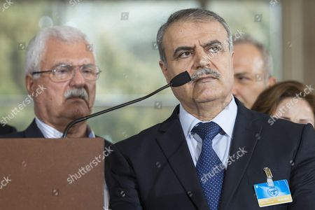 George Sabra (l) Syrian Opposition Deputy Head of High Negotiations Committee (hnc) and Asaad Al-zoubi (r) Head of the Syrian Opposition Delegation of High Negotiations Committee (hnc) Speak to the Media After a Round of Negotiations Between the Syrian Opposition and Un Special Envoy of the Secretary-general For Syria Staffan De Mistura (not Pictured) at the European Headquarters of the United Nations in Geneva Switzerland 24 March 2016 Others Are not Identified Switzerland Schweiz Suisse Geneva