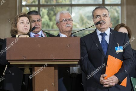Bassma Kodmani (l) of the Delegation of the High Negotiations Committee (hnc) George Sabra (c) Syrian Opposition Deputy Head of High Negotiations Committee and Asaad Al-zoubi (r) Head of the Syrian Opposition Delegation of High Negotiations Committee Speak to the Media After a Round of Negotiations Between the Syrian Opposition and Un Special Envoy of the Secretary-general For Syria Staffan De Mistura (no Pictured) at the European Headquarters of the United Nations in Geneva Switzerland 24 March 2016 Switzerland Schweiz Suisse Geneva
