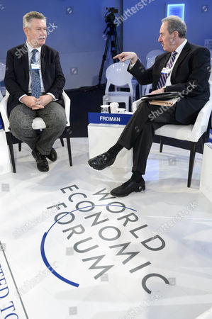 Eu Trade Commission Karel De Gucht (l) Speaks with Us Trade Representative Michael Froman (r) Before a Panel Session on the Last Day of the 44th Annual Meeting of the World Economic Forum (wef) in Davos Switzerland 25 January 2014 the Overarching Theme of the Meeting Which Takes Place From 22 to 25 January is 'The Reshaping of the World: Consequences For Society Politics and Business' Switzerland Schweiz Suisse Davos