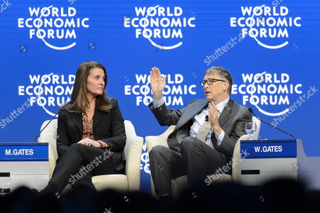 Stock Photo of Melinda French Gates Co-chair Bill & Melinda Gates (l) and William H Gates Iii Co-chair Bill & Melinda Gates Foundation (r) Speaks During a Panel Session at the 45th Annual Meeting of the World Economic Forum Wef in Davos Switzerland 23 January 2015 the Overarching Theme of the Meeting Which Takes Place From 21 to 24 January is 'The New Global Context ' Switzerland Schweiz Suisse Davos