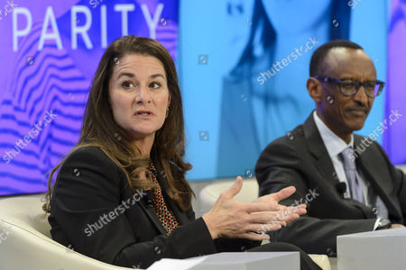 Stock Picture of Melinda French Gates (l) Co-chair of Bill & Melinda Gates Foundation and Paul Kagame (r) President of Rwanda Attend a Panel Session on the Last Day of the 45th Annual Meeting of the World Economic Forum Wef in Davos Switzerland 24 January 2015 the Overarching Theme of the 2015 Wef Meeting Which Began on 21 January was 'The New Global Context' Switzerland Schweiz Suisse Davos