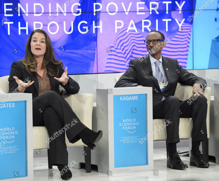Melinda French Gates (l) Co-chair of Bill & Melinda Gates Foundation and Paul Kagame (r) President of Rwanda Attend a Panel Session on the Last Day of the 45th Annual Meeting of the World Economic Forum Wef in Davos Switzerland 24 January 2015 the Overarching Theme of the 2015 Wef Meeting Which Began on 21 January was 'The New Global Context' Switzerland Schweiz Suisse Davos