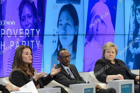 (l-r) Melinda French Gates Co-chair of Bill & Melinda Gates Foundation Paul Kagame President of Rwanda and the Prime Minister of Norway Erna Solberg Attend a Panel Session on the Last Day of the 45th Annual Meeting of the World Economic Forum Wef in Davos Switzerland 24 January 2015 the Overarching Theme of the 2015 Wef Meeting Which Began on 21 January was 'The New Global Context' Switzerland Schweiz Suisse Davos