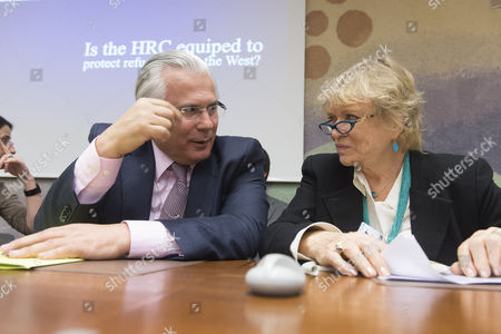 Baltasar Garzon Real (l) Spanish Judge and Eva Joly (r) Member of the European Parliament and Former French Judge Chat During a Conference of Western Persecution at the European Headquarters of the United Nations in Geneva Switzerland 23 March 2015 Switzerland Schweiz Suisse Geneva