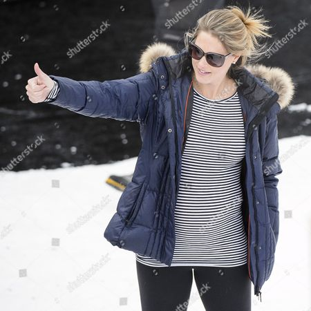 Stock Photo of Morgan Beck Wife of Bode Miller of the Usa Thumbs Up During the Men's Downhill Training at the 2015 Alpine World Skiing Championships in Beaver Creek Colorado Usa 03 February 2015 the World Championships Run From 02 February Through 15 February United States Beaver Creek