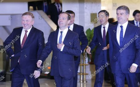 (l-r) Belarusian Prime Minister Andrei Kobyakov Russian Prime Minister Dmitry Medvedev Kyrgyzstan's Prime Minister Sooronbay Jeenbekov Kazakhstan's Prime Minister Bakhytzhan Sagintayev and Armenian Prime Minister Karen Karapetyan Arrive to Pose For a Picture During the Eurasian Intergovernmental Council Meeting at the Palace of Republic in Minsk Belarus 27 October 2016 Belarus Minsk