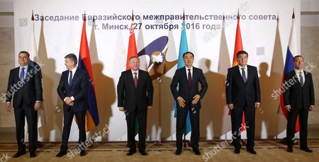 (l-r) Chairman of the Eurasian Economic Commission Board Tigran Sargsyan Armenian Prime Minister Karen Karapetyan Belarusian Prime Minister Andrei Kobyakov Kazakhstan's Prime Minister Bakhytzhan Sagintayev Kyrgyzstan's Prime Minister Sooronbay Jeenbekov and Russian Prime Minister Dmitry Medvedev Pose For a Picture During the Eurasian Intergovernmental Council Meeting at the Palace of Republic in Minsk Belarus 27 October 2016 Belarus Minsk