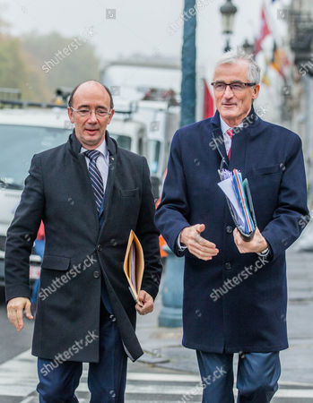 Walloon Minister-president Rudy Demotte (l) and Geert Bourgeois Minister-president of Flanders and Flemish Minister For Foreign Policy and Architectural Heritage (r) Arrive For the Concertation Committee of Belgium in Brussels Belgium 27 October 2016 the Belgian Prime Minister Organized Emergency Talks in an Effort to Save an Eu Free Trade Deal with Canada Called Ceta Blocked by a Belgian Walloon Region Belgium Brussels