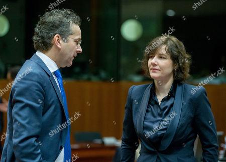 President of Eurogroup Dutch Finance Minister Jeroen Dijsselbloem (l) and Latvian Finance Minister Dana Reizniece-ozola (r) During a European Finance Ministers Meeting in Brussels Belgium 06 December 2016 Belgium Brussels