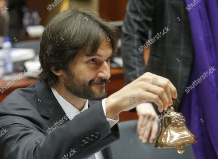 Slovak Interior Minister Robert Kalinak Rings the Bell to Start an Home Affairs Council in Brussels Belgium 09 December 2016 Council Will Discuss the Reform of the Common European Asylum System Belgium Brussels