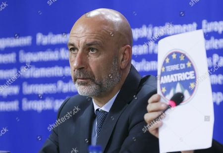 Sergio Pirozzi Mayor of Amatrice in Italy and Member of the European Parliament Mario Borghezio (not Pictured) Give a Press Conference at the Eu Parliament in Brussels Belgium 29 November 2016 Prizzi Call For European Help After Earthquake in Italy to Save Work Typical Production and Cultural Heritages Belgium Brussels
