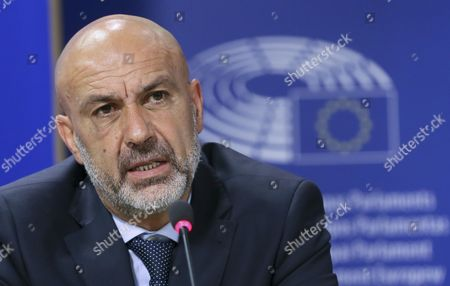 Stock Photo of Sergio Pirozzi Mayor of Amatrice in Italy and Member of the European Parliament Mario Borghezio (not Pictured) Give a Press Conference at the Eu Parliament in Brussels Belgium 29 November 2016 Prizzi Call For European Help After Earthquake in Italy to Save Work Typical Production and Cultural Heritages Belgium Brussels