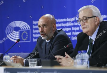 Stock Image of Sergio Pirozzi Mayor of Amatrice in Italy and Member of the European Parliament Mario Borghezio (r) Give a Press Conference at the Eu Parliament in Brussels Belgium 29 November 2016 Prizzi Call For European Help After Earthquake in Italy to Save Work Typical Production and Cultural Heritages Belgium Brussels