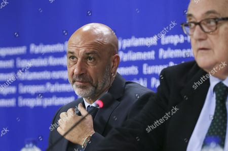 Sergio Pirozzi Mayor of Amatrice in Italy and Member of the European Parliament Mario Borghezio (r) Give a Press Conference at the Eu Parliament in Brussels Belgium 29 November 2016 Prizzi Call For European Help After Earthquake in Italy to Save Work Typical Production and Cultural Heritages Belgium Brussels