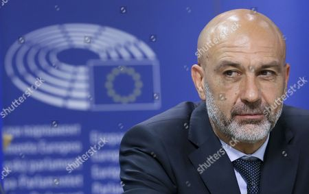 Stock Picture of Sergio Pirozzi Mayor of Amatrice in Italy and Member of the European Parliament Mario Borghezio (not Pictured) Give a Press Conference at the Eu Parliament in Brussels Belgium 29 November 2016 Prizzi Call For European Help After Earthquake in Italy to Save Work Typical Production and Cultural Heritages Belgium Brussels