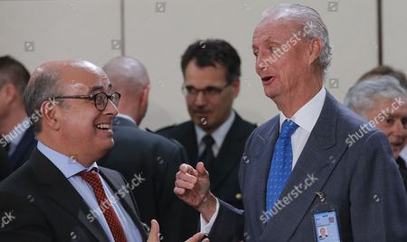Portuguese Defense Minister Jose Alberto Azeredo Lopez and Spanish Defense Minister Pedro Morenes (r) During a Nato Defense Ministers Council at Alliance Headquarters in Brussels Belgium 26 October 2016 Nato Defense Ministers Gather For a Two Days Meeting Belgium Brussels