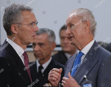 Nato Secretary General Jens Stoltenberg and Spanish Defense Minister Pedro Morenes (r) During a Nato Defense Ministers Council at Alliance Headquarters in Brussels Belgium 26 October 2016 Nato Defense Ministers Gather For a Two Days Meeting Belgium Brussels
