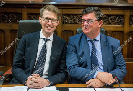 Dutch State Secretary of Education Culture and Science Sander Dekker (l) and Belgian Federal Secretary of State For the Fight Against Social Fraud the Protection of Privacy and the North Sea Bart Tommelein (r) During a Flemish-dutch Summit in Gent Belgium 07 November 2016 the Ministers Meet For a Biannual Consultations to Strengthen the Cooperation Between Flanders and the Netherlands and to Seek on Cooperation Projects Or Processes in Which Both Parties Benefits Belgium Gent