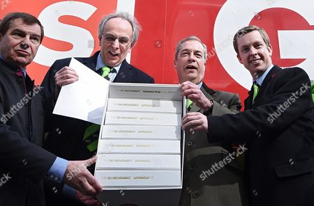 Grassroot out Campaigners Nigel Griffiths (l-r) Peter Bone Nigel Farage and Tom Pursglove Pose For Pictures with Supporters Outside the Electoral Commission in London Britain 31 March 2016 Eu-exit Campaign Grassroots out (go) Submitted Its Application to the Electoral Commission For Designation in the Eu Referendum Britain Will Vote 23 June Whether to Remain Or Leave the Eu United Kingdom London
