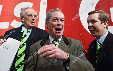 Grassroot out Campaigners Peter Bone (l-r) Nigel Farage and Tom Pursglove Pose For Pictures with Supporters Outside the Electoral Commission in London Britain 31 March 2016 Eu-exit Campaign Grassroots out (go) Submitted Its Application to the Electoral Commission For Designation in the Eu Referendum Britain Will Vote 23 June Whether to Remain Or Leave the Eu United Kingdom London