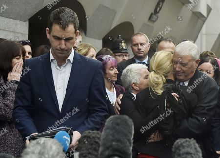 Members of Jo Cox's Family Including Husband Brendan Cox (l) Mother Jean Leadbeater (c-l) Sister Kim Leadbeater (c-r) and Father Gordon Leadbeater (r) Address the Media Outside of the Old Bailey in Central London Britain 23 November 2016 Tommy Mair Has Been Found Guilty of Murdering Jo Cox Mp in Her Constituency of Batley and Spen West Yorkshire Britain in June 2016 and Has Been Given a Whole Life Sentence United Kingdom London