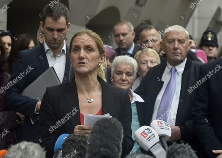 Members of Jo Cox's Family Including Husband Brendan Cox (l) Mother Jean Leadbeater (c-r) and Father Gordon Leadbeater (r) Listen to Jo Cox's Sister Kim Leadbeater (front) Addresses the Media Outside of the Old Bailey in Central London Britain 23 November 2016 Tommy Mair Has Been Found Guilty of Murdering Jo Cox Mp in Her Constituency of Batley and Spen West Yorkshire Britain in June 2016 and Has Been Given a Whole Life Sentence United Kingdom London