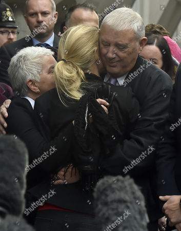 Members of Jo Cox's Family Including Mother Jean Leadbeater (l) Sister Kim Leadbeater (c) and Father Gordon Leadbeater (r) Hug After Addressing the Media Outside of the Old Bailey in Central London Britain 23 November 2016 Tommy Mair Has Been Found Guilty of Murdering Jo Cox Mp in Her Constituency of Batley and Spen West Yorkshire Britain in June 2016 and Has Been Given a Whole Life Sentence United Kingdom London