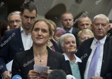 Members of Jo Cox's Family Including Husband Brendan Cox (l) Mother Jean Leadbeater (c-r) and Father Gordon Leadbeater (r) Listen to Jo Cox's Sister Kim Leadbeater Address the Media Outside of the Old Bailey in Central London Britain 23 November 2016 Tommy Mair Has Been Found Guilty of Murdering Jo Cox Mp in Her Constituency of Batley and Spen West Yorkshire Britain in June 2016 and Has Been Given a Whole Life Sentence United Kingdom London