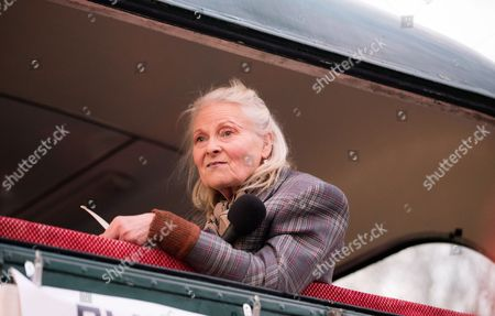 Fashion Designer Vivienne Westwood Delivers a Speech at an Event Held to Set Fire to an Estimated Five Million Pounds Worth of Punk Music Memorabilia on the Thames in Chelsea Central London Britain 26 November 2016 Westwood and Her Son Joe Corre Son of Sex Pistols Manager Malcolm Mclaren Arranged the Fire in Protest Over an Event Celebrating the 40th Anniversary of the Release of the Sex Pistols Debut Single Anarchy in the Uk United Kingdom London