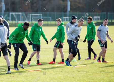 Celtic Player Kolo Toure (l) and Other Players Take Part in a Training Session of Celtic at the Club's Training Facility in Lennoxtown Near Glasgow Scotland 22 November 2016 Celtic Will Play Barcelona in a Uefa Champions League Group Stage Match on 23 November United Kingdom Lennoxtown
